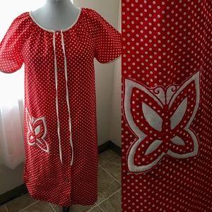 Vintage KOMAR *Size M* Polka Dot Cotton Robe